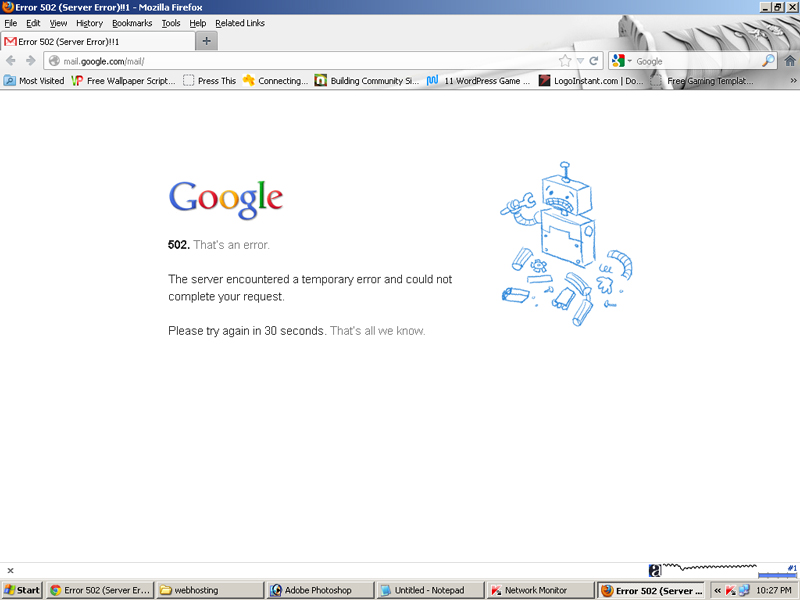 Rare seen Gmail server error 502