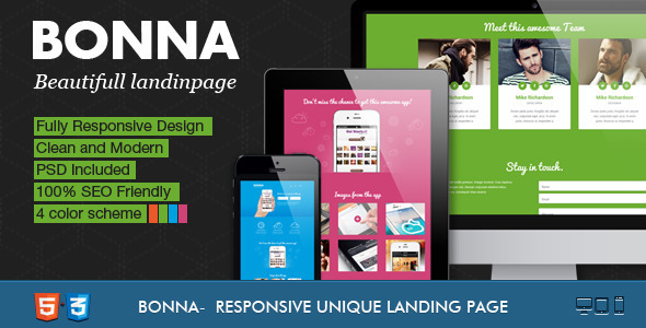 bonna landing pages design
