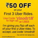 Free UBER Ride Rs. 50 OFF first 3 rides – Coupon Inside